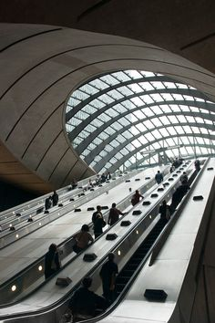 """London Underground's sci-fi tube station, Canary Wharf designed by Sir Norman Foster. Photo by Tom Bland. $39.00 at 12"""" x 8"""" on Etsy. Open edition, signed."""