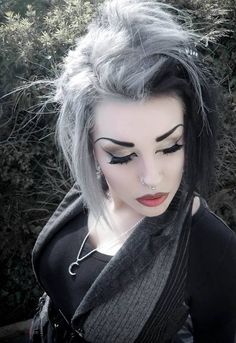 Office goth makeup Grey and black #Hair #Corporategoth