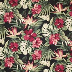 Bamboo Black Hawaiian 100/% Cotton Tropical Upholstery Fabric Barkcloth