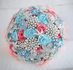 Coral and aqua brooch bouquet Wedding brooch by MagnoliaHandmade, $250.00