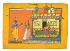 Radha and Krishna in Rasamanjari by Bhanudatta, Basohli, c1670.jpg