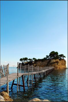 Bridge to Agios Sosis island , near Laganas in Zakynthos Greece