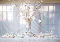 White Christmas~ White Christmas Desserts, White Desserts, Christmas Party Themes, Christmas Buffet, Christmas Decorations, Frozen Desserts, Christmas Christmas, Christmas Wedding, Christmas Cookies