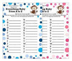 Monkey Baby Shower Games | Printable Personalized Monkey Everything Baby Shower Game
