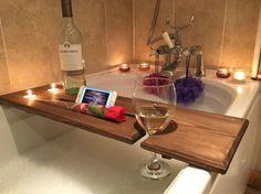 Cremagliera di relax bagno in legno bordo, Caddy Vasca da bagno, bagno