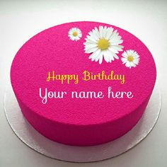 Mirror Glazed Marble Pink Birthday Cake With Your Name