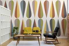 The Wegner Colourful Retro Wall Mural beautifully illustrates the iconic mid-century modern style with its graceful contours and playful pattern. The exciting medley of colours will instantly add a little drama to any space. #wallpaper #murals #wallmurals #interior #interiordesign #design #home #homedecor #interiordecor #accentwall #inspiration #Ihavethisthingswithwalls #midcenturymodern