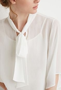 Self-Tie Neck Cropped Blouse | Forever 21 - 2000158137