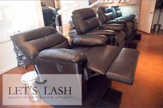 Comfortable recliner chairs at Let's Lash an eyelash extension studio in Scottsdale, AZ. Take a nap and wake up beautiful! www.letslash.com