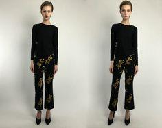 Vintage 90s Black Yellow Gold  Oriental Dragon Novelty Print Low Waist Trousers Pants S