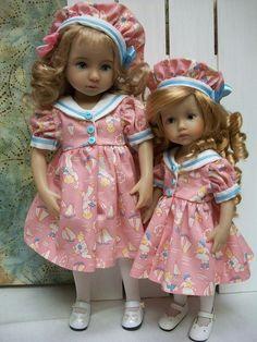 "13"" Effner Little Darling, 10.5"" Boneka Sister, Matching ""Sail Away""  Dresses #HouseofBiscotti"