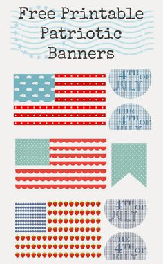 Free Printable 4th of July Banners with clouds, strawberries or scallops - cute!