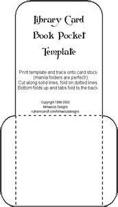 Template for Library Card Book Pocket