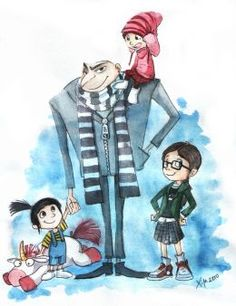former super-villain Gru, now a devoted father to Margo, Edith and Agnes Minions Movie Characters, Minion Movie, Despicable Me Gru, Comedy Films, Classic Movies, Cool Artwork, Illustration Art, The Incredibles, Animation
