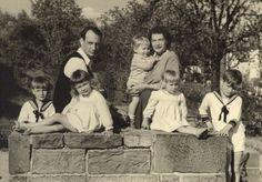 Prince Louis Ferdinand of Prussia, wife Princess Kira (nee Princess--later Grand Duchess--Kira of Russia) and their 5 eldest children, front:  Prince Michael, Princess Marie Cecile, Princess Kira, and Prince Friedrich Wilhelm.  Princess Kira holds Prince Louis Ferdinand.