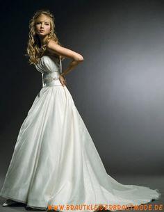 Moderne weiße Brautmode aus Satin A-Linie mit Schleppe
