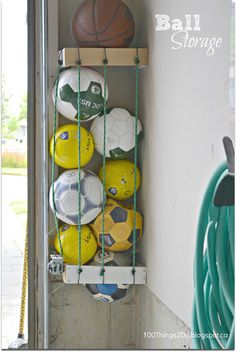 Organization - DIY Ball Storage in Garage or storage space.