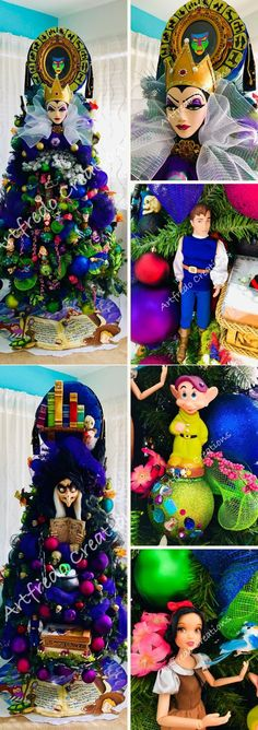Most of the decorations for the Disney-themed Christmas tree are handmade, sculpted and painted, except for the dwarfs.   #disneyinspiredchristmastree #christmastree #disneychristmastree #christmastreedecoration #christmasdecoration #snowhite #disney