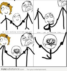 Le Me walking with Mom and Dad when this happens