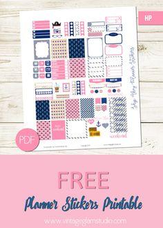 Nautical themed mini happy planner printable