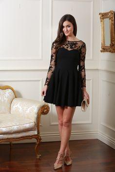 Maria Black Mesh Sleeve Skater Dress
