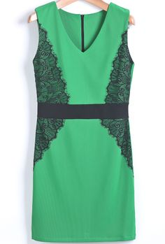 Green V Neck Contrast Lace Bodycon Dress US$20.79