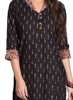 Shop now all the latest Kurti designs for women. Explore Cbazaar's huge collection of party wear and casual wear Indian Kurtis featuring a huge variety. Kurti Sleeves Design, Kurta Neck Design, Sleeves Designs For Dresses, Dress Neck Designs, Blouse Designs, Printed Kurti Designs, Churidar Designs, Kurta Designs Women, Cotton Kurtis Designs