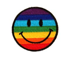 Smiley Face Patch, Iron on Patch, 90s Patch, Kawaii Patch, Grunge Patch,Rainbow Patch, Kawaii, Pastel Grunge, Gay Pride Patch, LGBT Patch