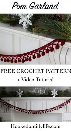 free crochet pattern pom pom garland christmas home decor easy do it yourself diy holiday hooked on tilly tutorial video noel home decor ideas Crochet Christmas Garland, Christmas Crochet Patterns, Holiday Crochet, Diy Crochet Garland, Crochet Ideas, Crochet Santa, Christmas Bunting, Crochet Angels, Crochet Ornaments