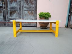 Mid Century Modern Retro Rectangular Yellow Coffee Table with White Formica Top Los Angeles by HouseCandyLA, $150.00