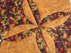 Harvest Quilt Table Runner  Maple Leaves Mums Orange by KeriQuilts, $30.00