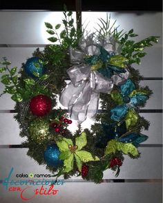 Turquoise and green christmas wreath