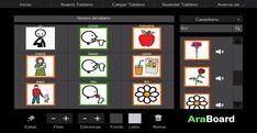 AraBoard Constructor: conjunto de herramientas diseñadas para la comunicación alternativa y aumentativa, cuya finalidad es facilitar la comunicación funcional, mediante el uso de imágenes y pictogramas, a personas que presentan algún tipo de dificultad en este ámbito. Autism Apps, Software Libre, Degenerative Disease, Aphasia, Ipad, Pictogram, Tool Design, Poker, Technology