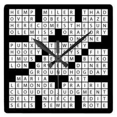 crossword puzzle wall clock www.zazzle.com/sharoncullars