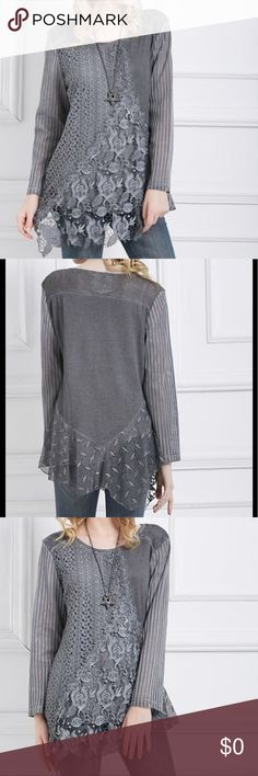 🆕 Beautiful Grey Lace Tunic Lovely lace, an asymmetric hem and detailed add texture and interest to this must-have cool-weather tunic that'll pair with jeans, leggings or your favorite work-ready pants. 80% polyester / 20% cotton COMING BACK Tops Tunics