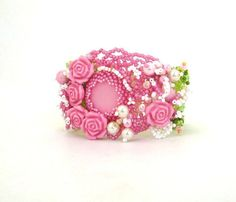 Beaded jewelry Seed bead jewelry Beadwork Pink Beaded by ibics, $85.00
