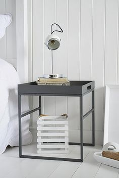 Brooklyn grey metal bedside table