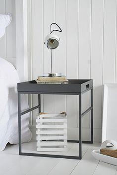 Brooklyn grey metal bedside table
