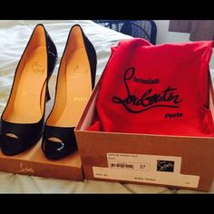 Christian Louboutin YOYO 85 Patent Calf in Black Worn once over the Holidays; only sign of wear is on sole as pictured.  Christian Louboutin Shoes Heels