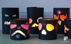 We love these black spooky lanterns made from paper, jars, and tissue paper. Such a cute craft for Halloween, your …