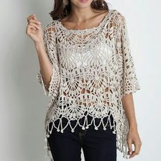 Fabulous Crochet a Little Black Crochet Dress Ideas. Georgeous Crochet a Little Black Crochet Dress Ideas. Gilet Crochet, Crochet Shirt, Crochet Jacket, Crochet Cardigan, Crochet Tops, Knit Poncho, Hand Crochet, Mode Crochet, Black Crochet Dress