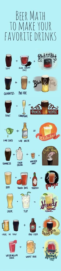 beer combinations you have to try How to mix beer with juice, soda and other beers to create entirely new drinks.How to mix beer with juice, soda and other beers to create entirely new drinks. Party Drinks, Cocktail Drinks, Fun Drinks, Yummy Drinks, Cocktail Recipes, Alcoholic Drinks, Bourbon Drinks, Beer Mixed Drinks, Coffee Drinks