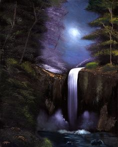 Night Waterfall This was made with nothing but Photoshop in a couple hours. Description from mildnetblog.blogspot.com. I searched for this on bing.com/images