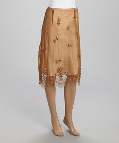 Look what I found on #zulily! Brown Floral Beaded Midi Skirt by Papillon Imports #zulilyfinds
