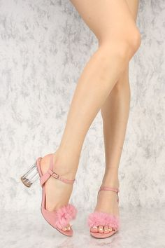 060733debf9 Dust Pink Faux Fur Open Toe Clear Round Chunky High Heels Faux Suede