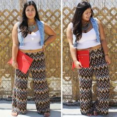 Bianca styled this summer-perfect boho chic outfit. A cropped top, vest, and bright colored accessories with our Chevron Multicolor Palazzo Pants makes for a great weekend outdoor look. Womens Plus Size Soft Comfy Stretchy Wide Leg Palazzo Pants Boho Printed Designs 1X 2X 3X Curvy Fashion