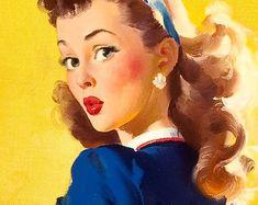 """1940/'s Elvgren Pin-Up Girl Banking Poster /""""Socking It Away/"""" 24x30"""