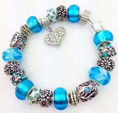 Blue Crystal Heart European Style Charm Bracelet on Etsy, $20.00