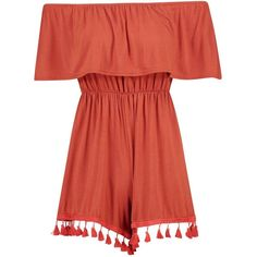 Boohoo Taylor Bardot Tassel Trim Playsuit (27 AUD) ❤ liked on Polyvore featuring jumpsuits, rompers, red jersey, going out rompers, red romper, playsuit romper and party rompers