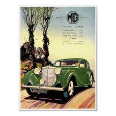 MG Car Company ~ Vintage British Advertisement Poster